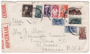 SOUTH AFRICA - JAMAICA…WW2 TRANS ATLANTIC AIRMAIL 4/- RATE. …
