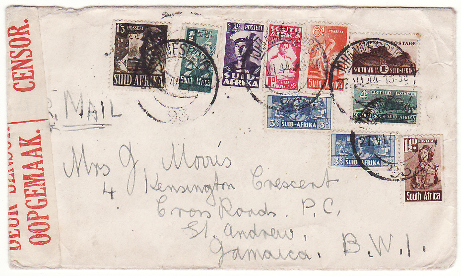 [19829]  SOUTH AFRICA - JAMAICA…WW2 TRANS ATLANTIC AIRMAIL 4/- RATE. …  1944 (Jun 27)