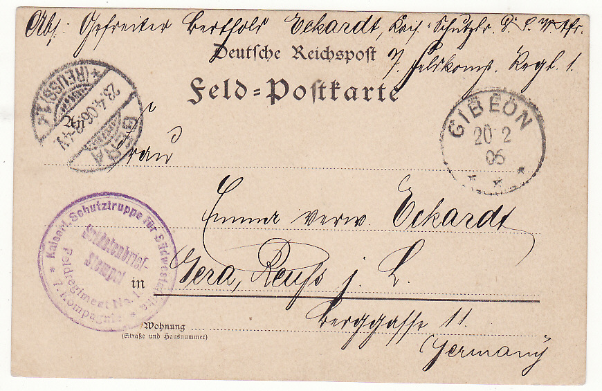 [19860]  GERMAN SOUTH WEST AFRICA - GERMANY … HERERO WARS 1903 - 1907 ...  1905 (Feb 15)