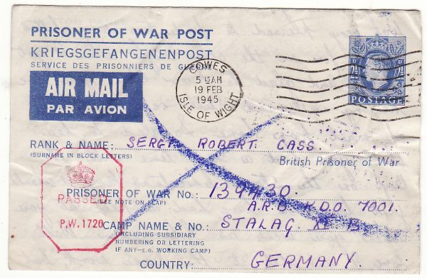 GB - GERMANY … WW2 POW RETURNED TO SENDER ...