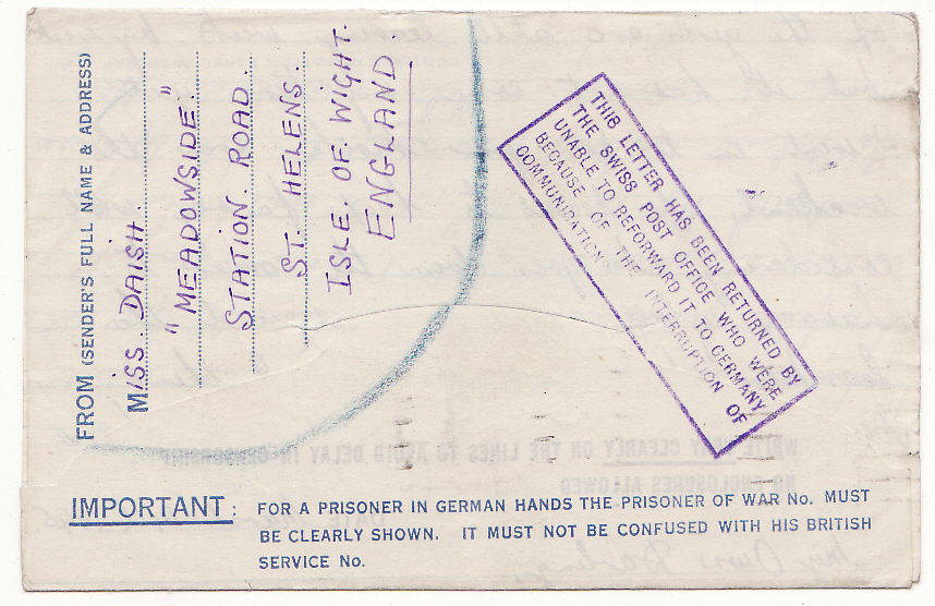 [19904]  GB - GERMANY … WW2 POW RETURNED BY SWISS POST OFFICE ...   1945 (Mar 14 )