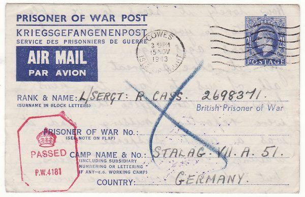 GB - GERMANY … WW2 POW PART OF UNDELIVERED MAILS & RETURNED  ...