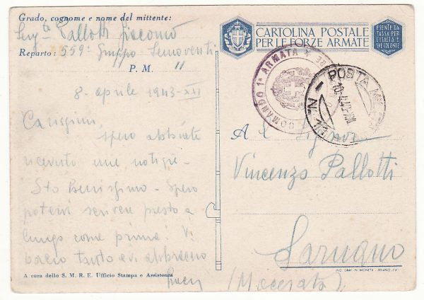TUNISIA - ITALY … WW2 ITALIAN FORCES PROPAGANDA CARD …