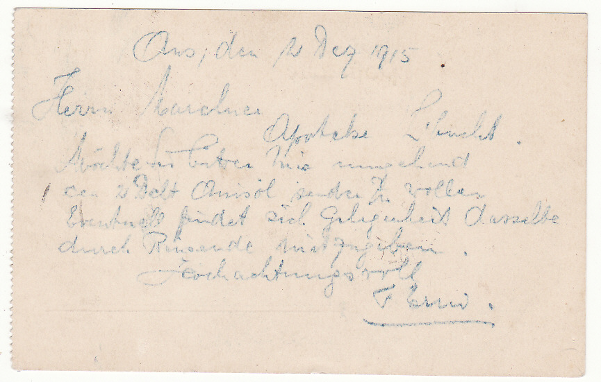 [19868]  SOUTH WEST AFRICA .. WW1 INTERNAL CENSORED MAIL ..  1915 (Dec 3)