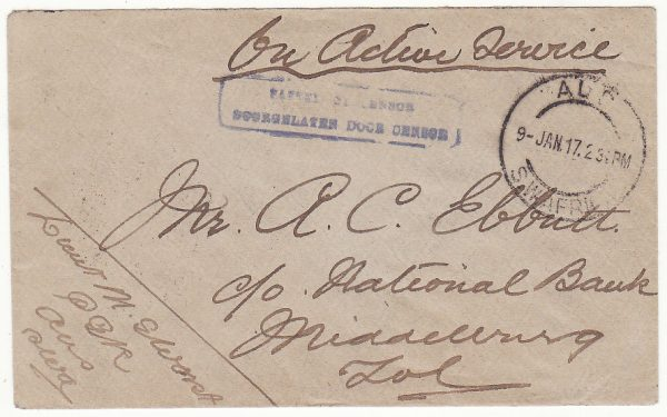 SOUTH WEST AFRICA .. WW1 INTERNAL CENSORED MAIL ..