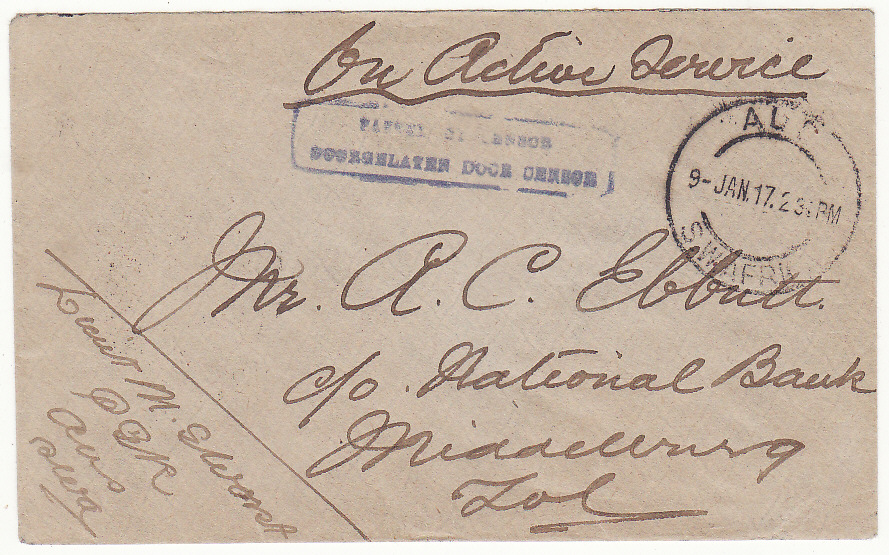 [19869]  SOUTH WEST AFRICA .. WW1 INTERNAL CENSORED MAIL ..  1917 (Jan 9)