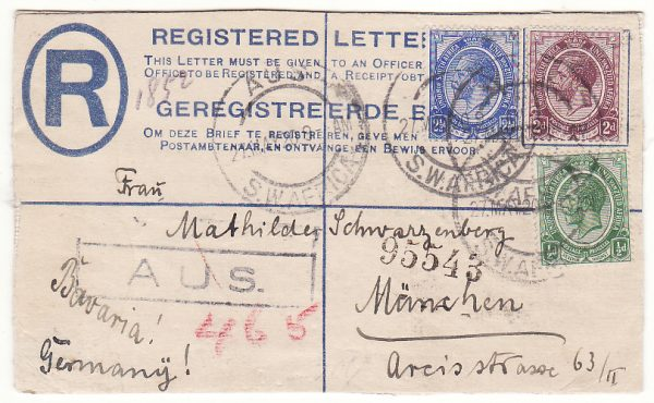 SOUTH WEST AFRICA - GERMANY .. 1920 REGISTERED AUS to MUNICH with CURRENCY CONTROL ..