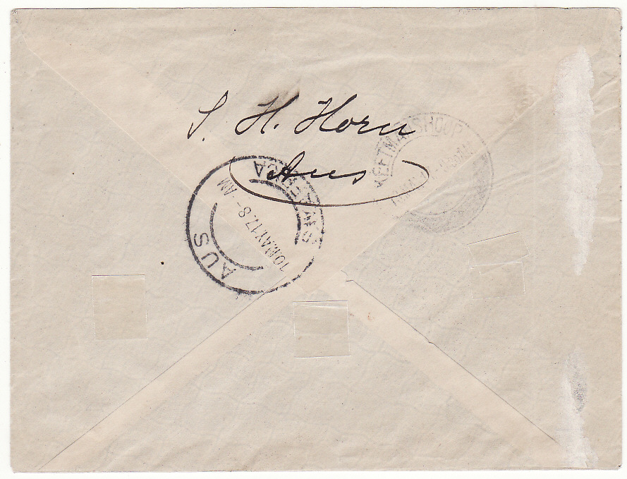 [19871]  SOUTH WEST AFRICA .. WW1 INTERNAL CENSORED MAIL ..  1917 (May 9)