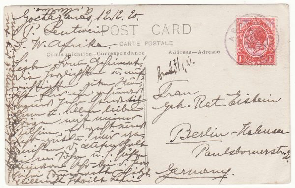 SOUTH WEST AFRICA - GERMANY.. 1920 SCARCER ARIS VIOLET CDS to BERLIN ..