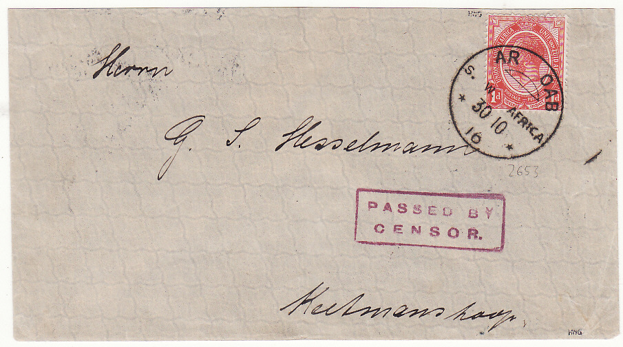 [19873]  SOUTH WEST AFRICA .. WW1 INTERNAL CENSORED MAIL ..  1916 (Oct 30)
