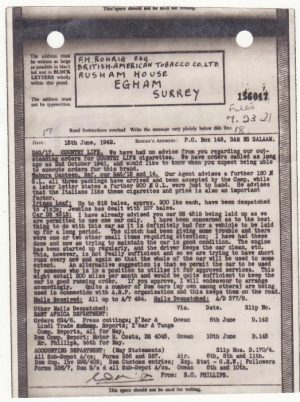 TANGANYIKA - GB...WW2 AIRGRAPH from B.A.T. referring to TABORA INTERNMENT CAMP…