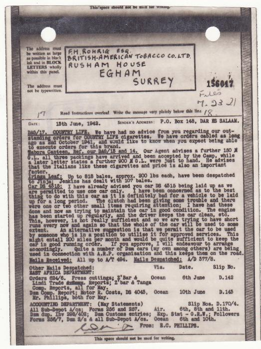 [19945]  TANGANYIKA - GB...WW2 AIRGRAPH from B.A.T. referring to TABORA INTERNMENT CAMP…  1942 (Jun 14)