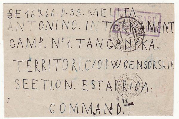 ITALY - TANGANYIKA..WW2 INTERNMENT CAMP No. 1…