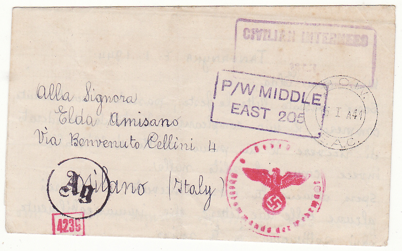 [19949]  TANGANYIKA - ITALY..WW2 CIVILIAN INTERNEES MAIL…  1944 (Jan 7)