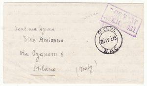 TANGANYIKA - ITALY..WW2 POSTAGE FREE EVACUEE MAIL…