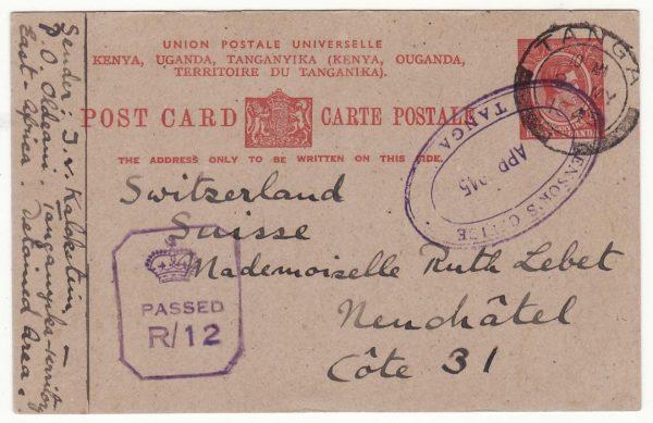 TANGANYIKA - SWITZERLAND.WW2 CENSORS OFFICE TANGA…