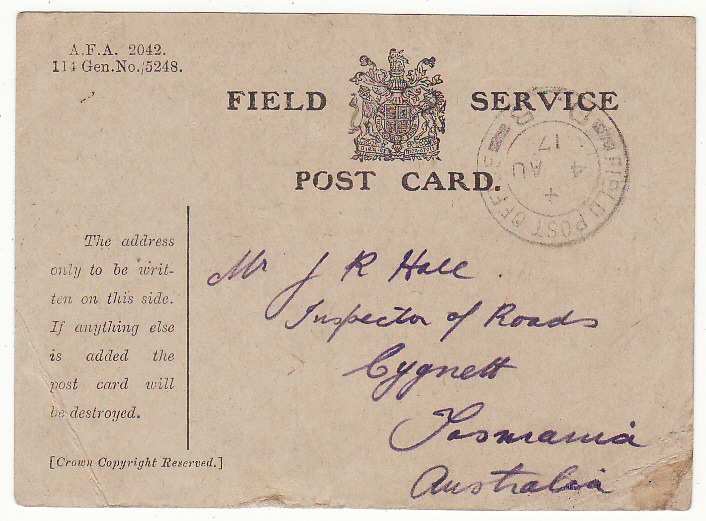 "[19978]  AUSTRALIA … WW1 A.I.F forces in FRANCE.. FIELD SERVICE CARD...  ""1917 (Aug 4)"