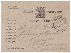 AUSTRALIA … WW1 A.I.F forces in FRANCE.. FIELD SERVICE CARD...