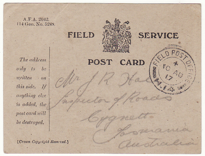 "[19980]  AUSTRALIA … WW1 A.I.F forces in FRANCE.. FIELD SERVICE CARD...  ""1917 (Aug 9)"
