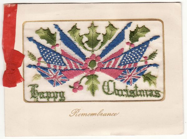AUSTRALIA … A.I.F. FORCES in FRANCE.. SILK CHRISTMAS GREETING CARD...