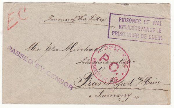 SOUTH AFRICA - GERMANY …WW1 PRISONER OF WAR….