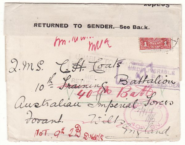 AUSTRALIA - GB …WW1 A.I.F. FORCES RETURN TO SENDER with LETTER ….
