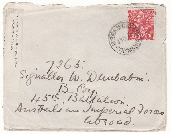 AUSTRALIA …WW1 A.I.F. FORCES REDIRECTED BY ARMY BASE POST OFFICE LABEL….