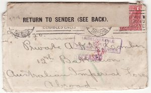 AUSTRALIA …WW1 A.I.F. FORCES DECEASED & RETURN TO SENDER with LETTER ….