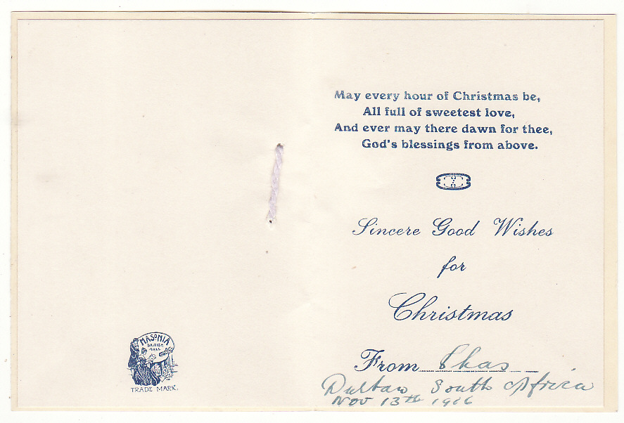[20005]  SOUTH AFRICA - AUSTRALIA …WW1 CHRISTMAS GREETING & CENSORED at HOBART.  1916 (Nov 13)