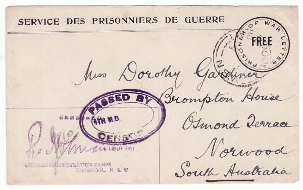 AUSTRALIA.. WW1 POW CAMP LIVERPOOL DOUBLE CENSORED..
