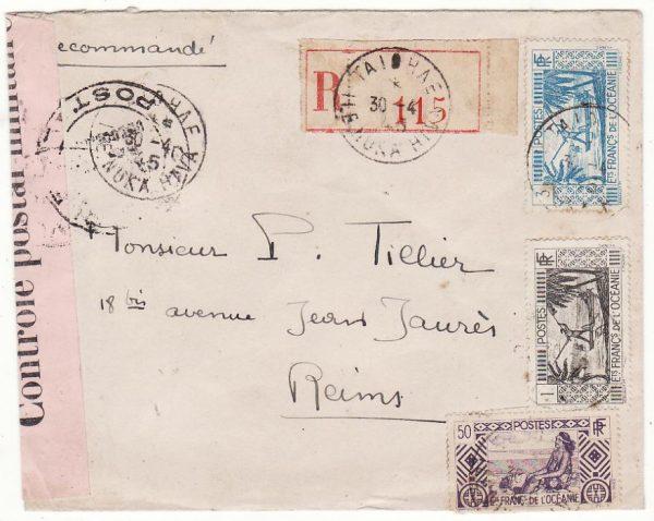 TAHITI - FRANCE …WW2 REGISTERED CENSORED…