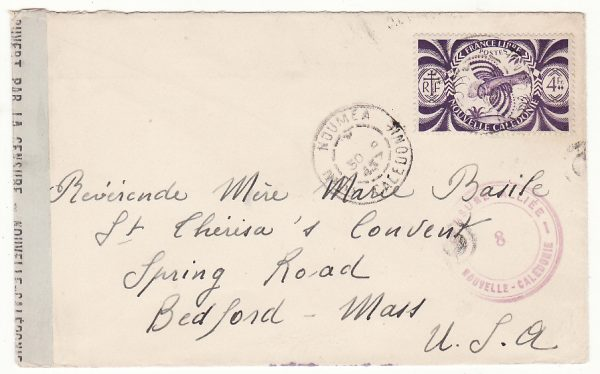 NEW CALEDONIA - USA …WW2 CENSORED…