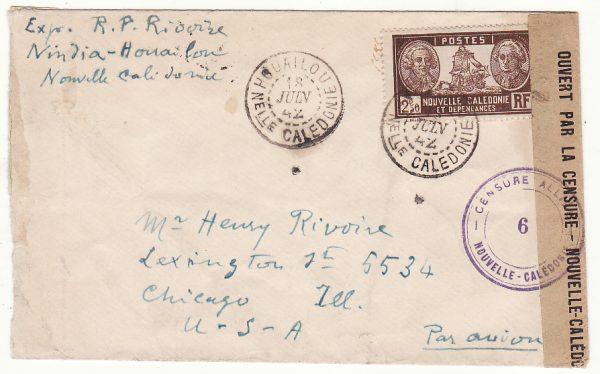 NEW CALEDONIA - USA …WW2 CENSORED from HOUAILOU…