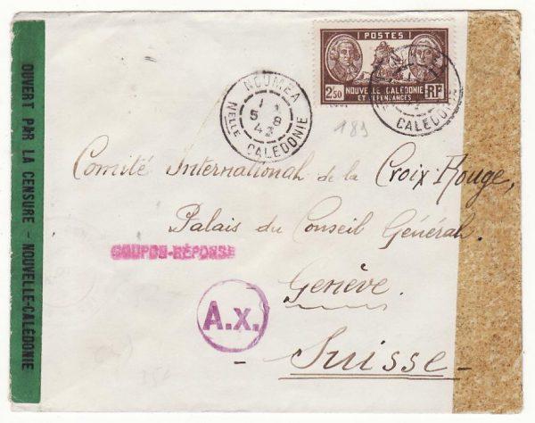 NEW CALEDONIA - SWITZERLAND …WW2 TRIPLE CENSORED to RED CROSS