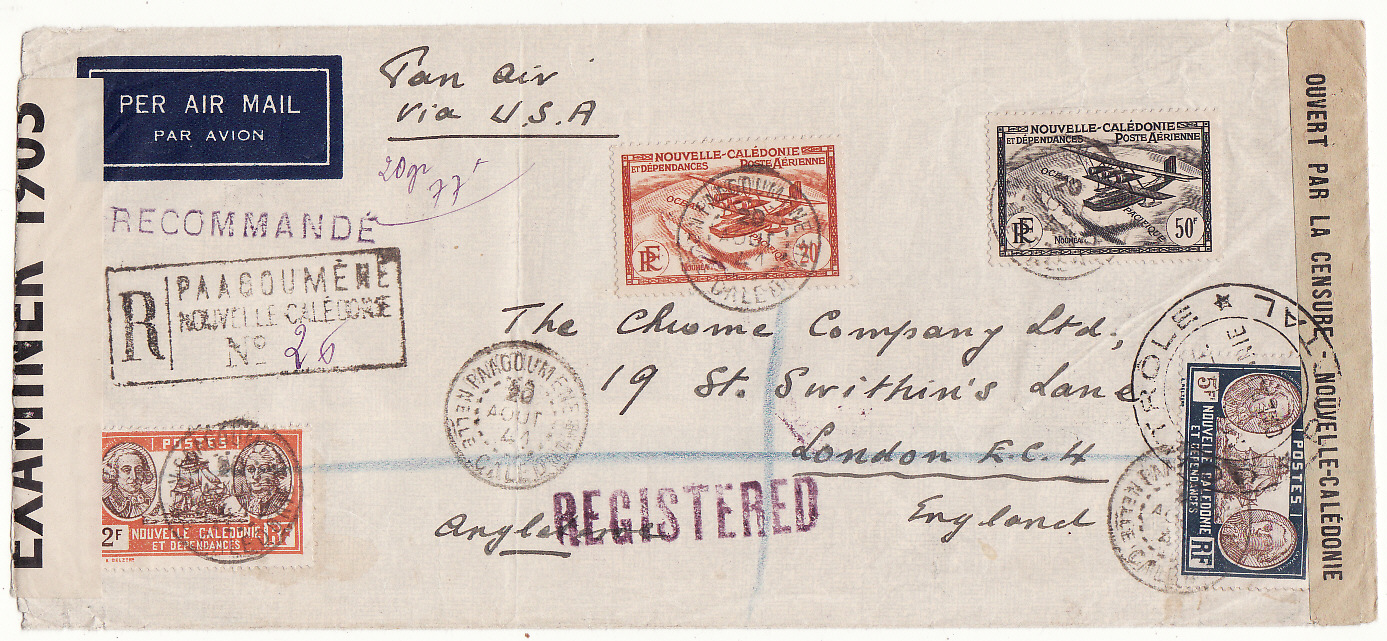 [20045]  NEW CALEDONIA - GB …WW2 REGISTERED DOUBLE CENSORED 2 OCEAN AIRMAIL…  1940 (Aug 20)