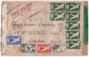 NEW CALEDONIA - GB …WW2 REGISTERED DOUBLE CENSORED 2 OCEAN AIRMAIL…