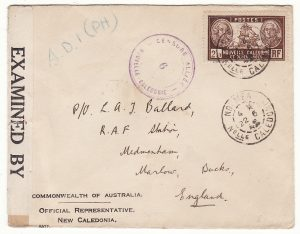 NEW CALEDONIA - GB …WW2 CENSORED OFFICIAL AUSTRALIAN REP. to RAF MEDMENHAM…