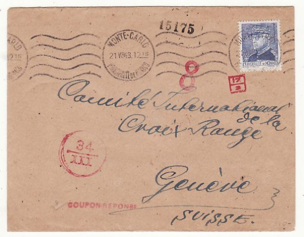MONACO - SWITZERLAND…ITALIAN OCCUPATION of S.E. FRANCE to RED CROSS…