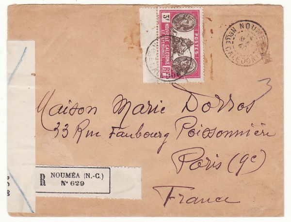NEW CALEDONIA - FRANCE …WW2 REGISTERED CENSORED & CONDEMNED by BRITISH…