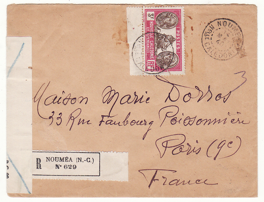 [20055]  NEW CALEDONIA - FRANCE …WW2 REGISTERED CENSORED & CONDEMNED by BRITISH…  1940 (May 14)