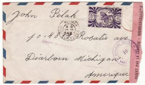 NEW CALEDONIA - USA …WW2 AIRMAIL STAMP REMOVED BY CENSOR…