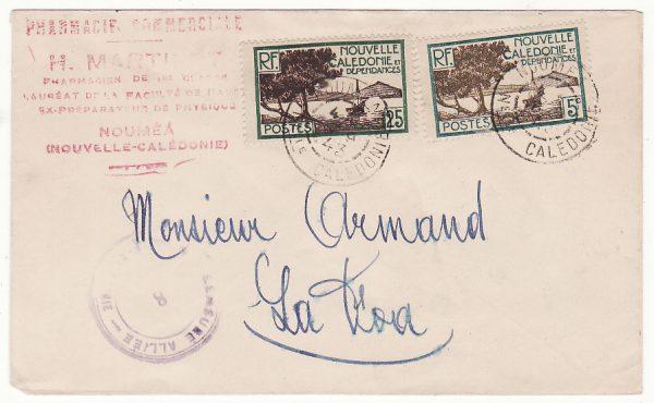 NEW CALEDONIA…WW2 INTERNAL CENSORSHIP to LA FOA…