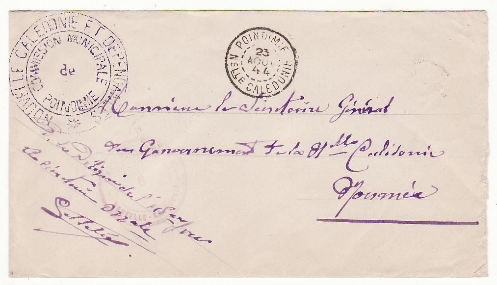 [20066]  NEW CALEDONIA …WW2 FREE FRENCH POINDIMIE to NOUMEA…  1944 (Aug 23)