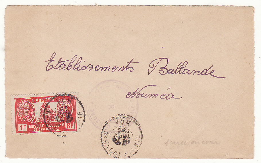 [20069]  NEW CALEDONIA …WW2 INTERNAL CENSORED MAIL from VOH to NOUMEA…  1942 (Jun 25)