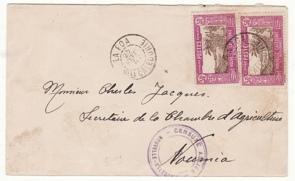 NEW CALEDONIA …WW2 INTERNAL CENSORED MAIL from LA FOA to NOUMEA…