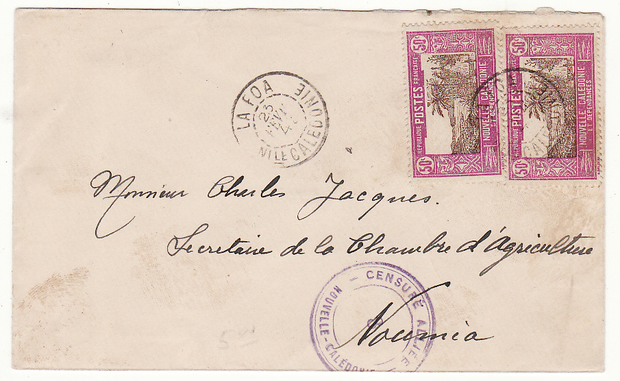 [20070]  NEW CALEDONIA …WW2 INTERNAL CENSORED MAIL from LA FOA to NOUMEA…  1943 (Feb 23)