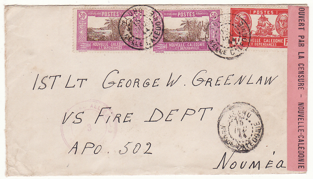 [20071]  NEW CALEDONIA …WW2 INTERNAL CENSORED MAIL from TOUHO to U.S. FORCES at NOUMEA…  1944 (Dec 15)