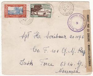 NEW CALEDONIA …WW2 INTERNAL CENSORED MAIL from POUEMBOUT to U.S.FORCES at NOUMEA…