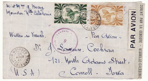 NEW CALEDONIA - USA …WW2 TRANS PACIFIC CENSORED AIRMAIL…