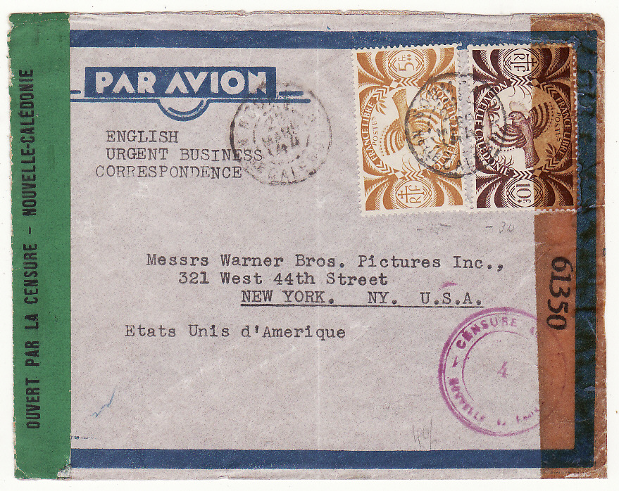 [20074]  NEW CALEDONIA - USA …WW2 TRANS PACIFIC DOUBLE CENSORED AIRMAIL…  1944 (Mar 23)